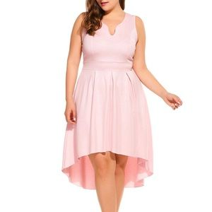 Dresses & Skirts - Plus Pale Pink High Low Swing Dress, L-4X